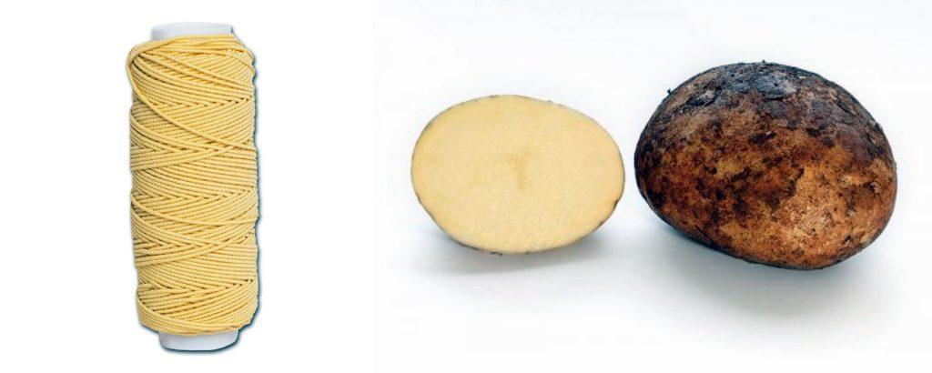 Фото нитки и картофеля для ритуала избавления от бородавок