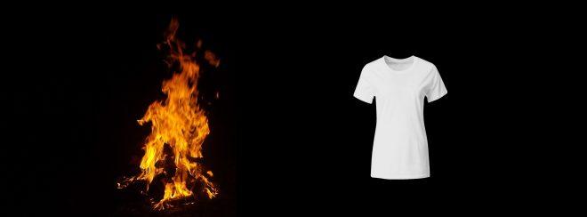 Фото огня и женской майки