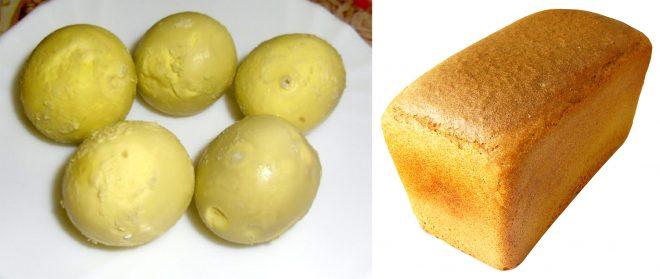 яичные желтки и хлеб