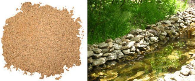 песок и родник с водой